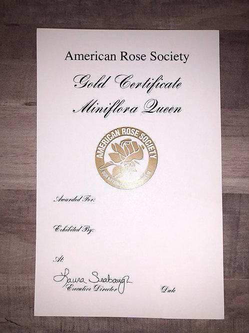 Miniflora Horticulture Certificate Gold