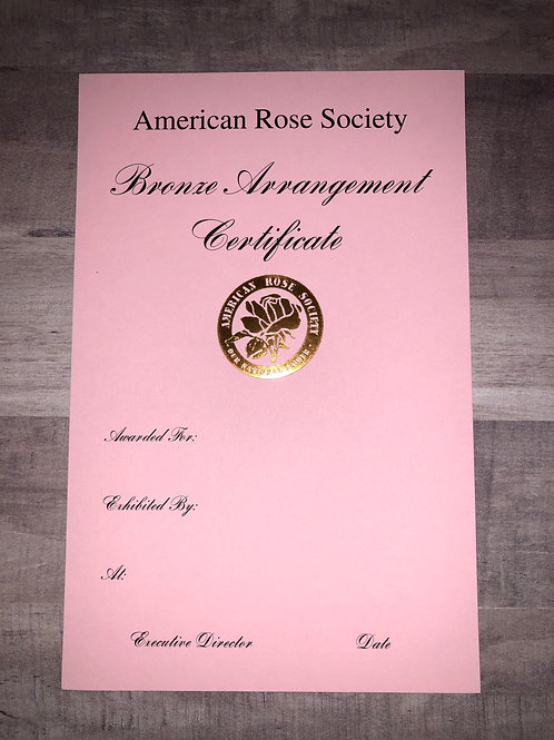 Arrangement Certificate Bronze