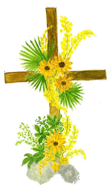 Lot de 5 cartes simples Croix fleurie