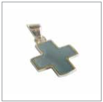 pendentif croix argent bleue