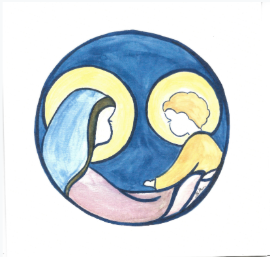 Lot de 5 cartes simples Vierge à l'enfant fond bleu