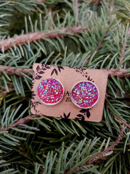 84 - Faux Druzy - Light Red Multi with Silver