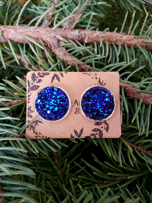 """72 - Faux Druzy 0.5"""" round - Bright Blue Purple Mixture with Silver"""