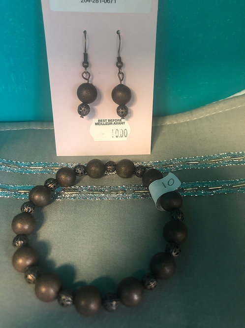 Antique copper bracelet and earring combo