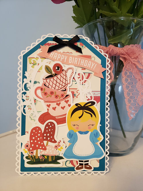 Alice in Wonderland Birthday Card 7x5 Tag style card with stand