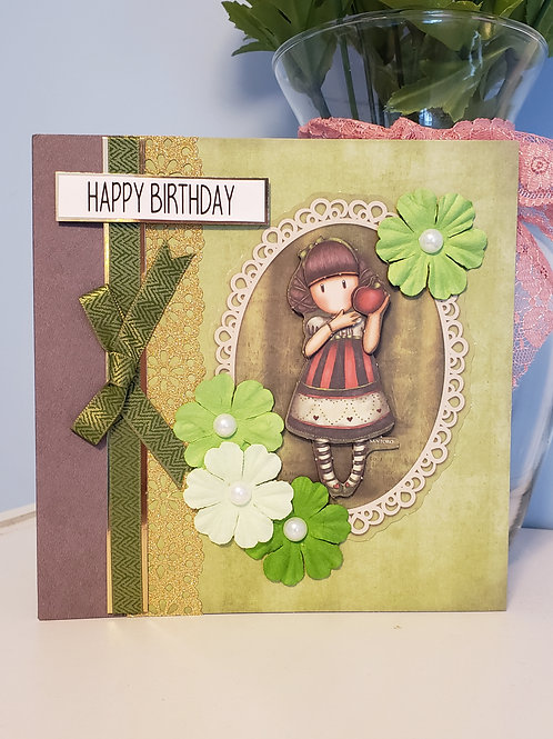Dear Apple Birthday Card, 6x6 Card with envelope