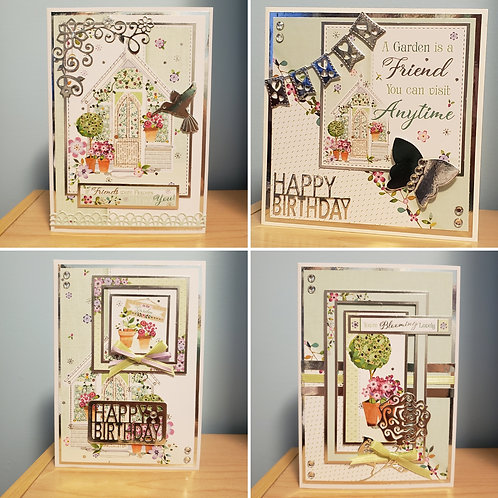 Set of 4 Birthday Cards (Garden)