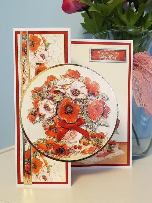 Poppy Vase Birthday Card. 7x5 Card with envelope