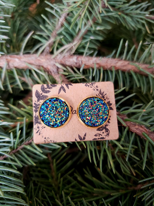 """1 - Faux Druzy 0.5"""" Round - Blue Multi with Gold"""