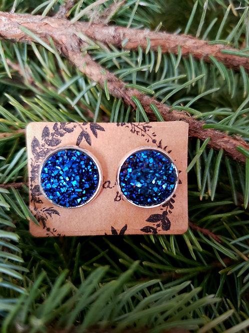 86 - Faux Druzy - Navy (dimmer in person) with Silver