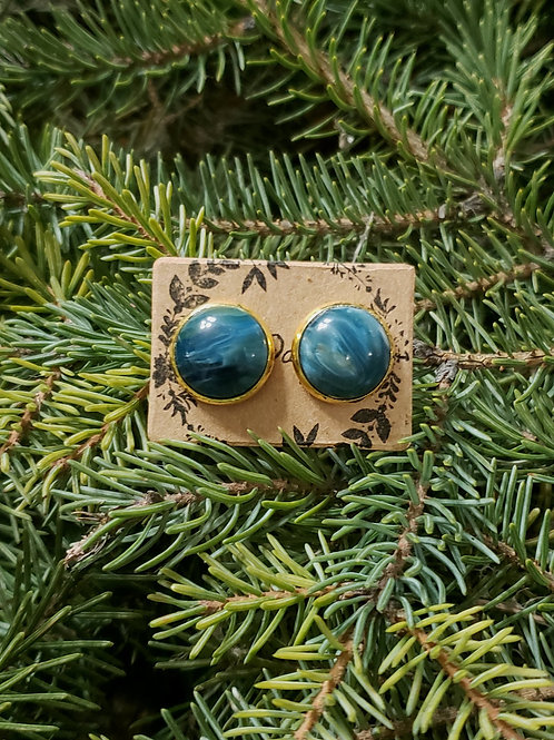 """80 - Glass Cabochon 0.5"""" Round Blue Marble with Gold"""
