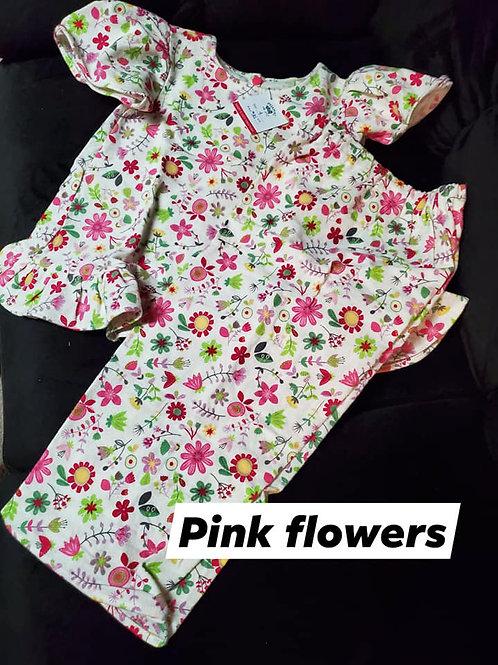 Pink Flowers PJ Set Size 4