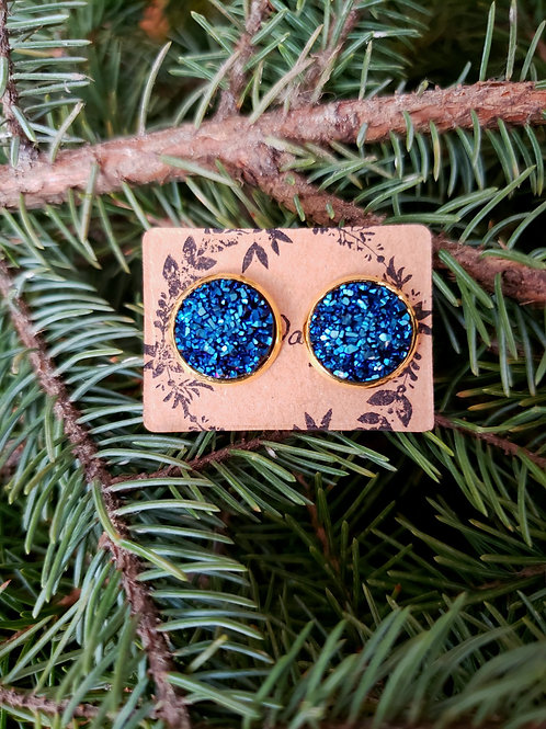 85 - Faux Druzy - Navy (dimmer in person) with Gold