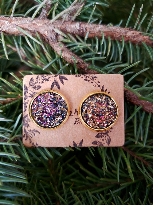 """75 - Faux Druzy 0.5"""" Round - Deep Rose Gold Mixture with Gold"""