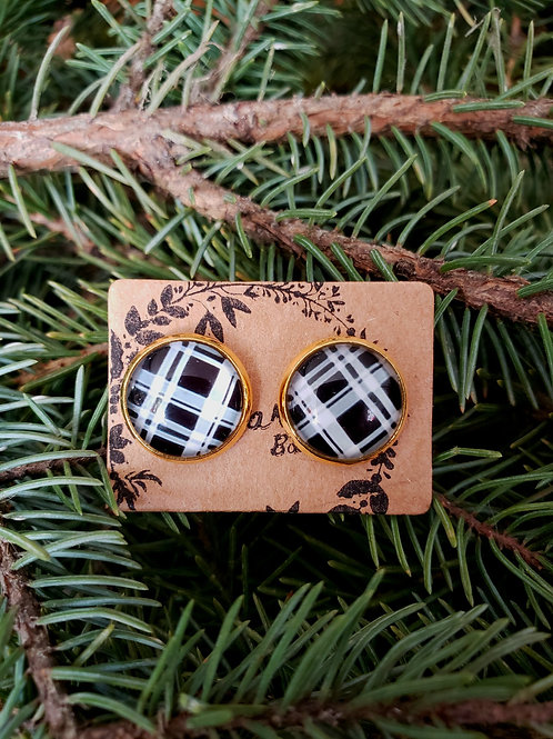 """87 - Glass Cabochon 0.5"""" Round - Plaid with Gold"""