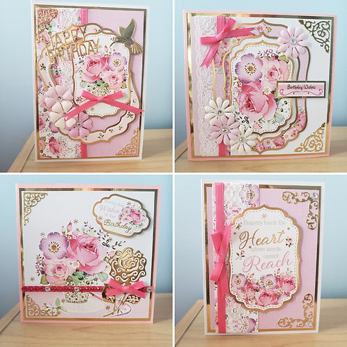 Set of 4 Birthday Cards (Roses)