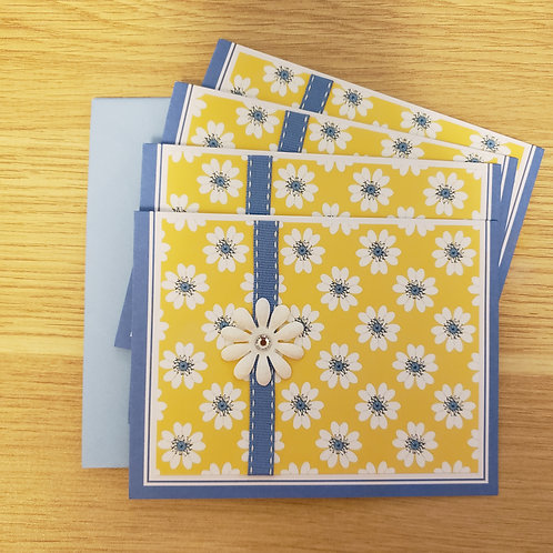 Set of 4 Notecards (yellow daisy)