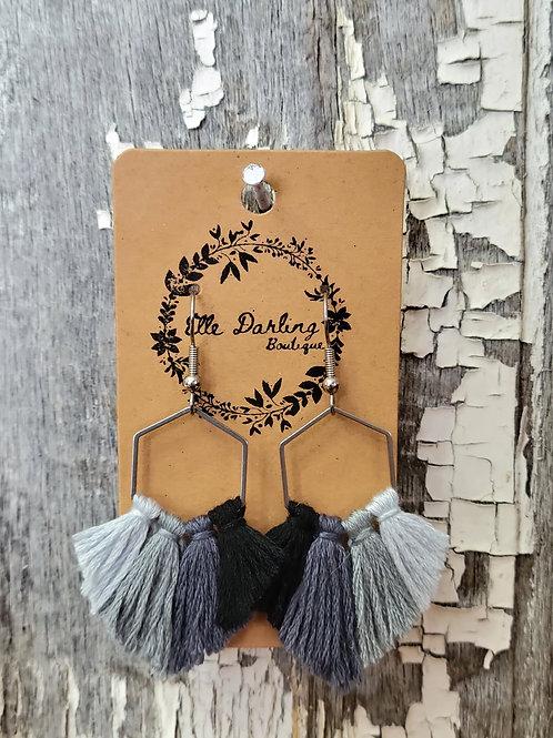 Hexagon Fringe Earrings