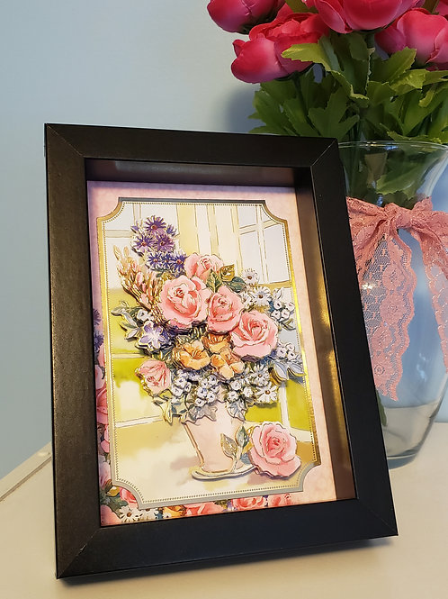 Floral Vase Picture Layered Picture in 7x5 frame (not behind glass)