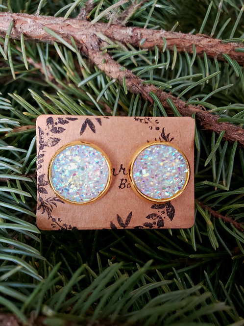 93 - Faux Druzy - White light multi with gold