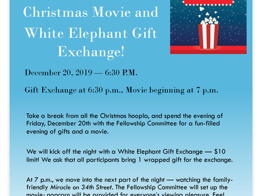 Join us on December 20th for a Movie and a Gift Exchange!