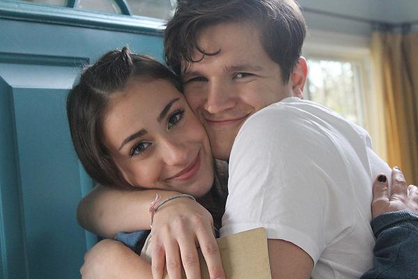 Lucía Rodriguez-Nelson & Billy Chengary hug on set