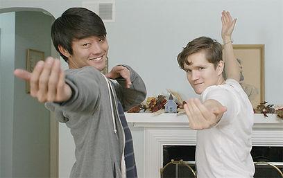 Kento Matsunami as Akira Oniwa & Billy Chengary as Scott Dahse practice karate