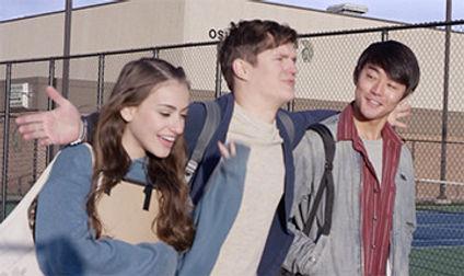Lucía Rodriguez-Nelson, Billy Chengary, & Kento Matsunami walk outside of school