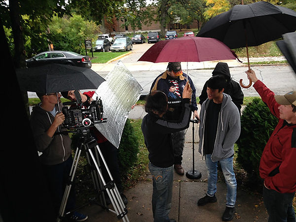 Another Yesterday cast & crew shoot under drizzle