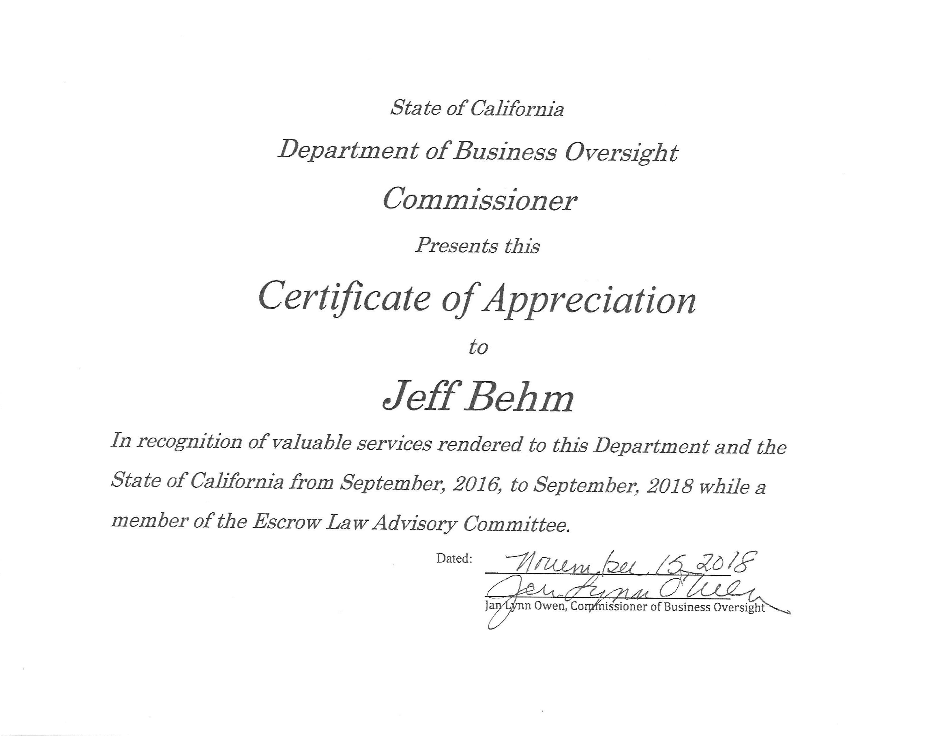 Jeff DBO Certificate 2016-2018