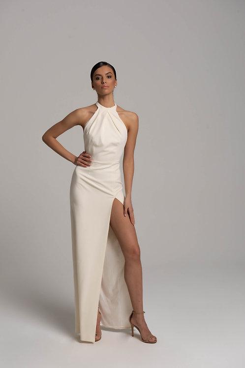 Платье-макси с горловиной халтер