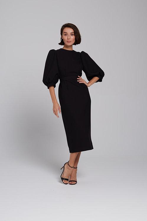 Платье-миди с объемным рукавом