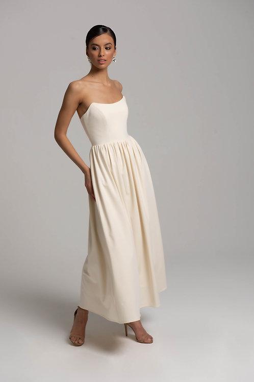 Платье-миди со сборкой