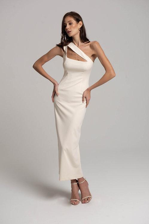Платье-миди на одно плечо