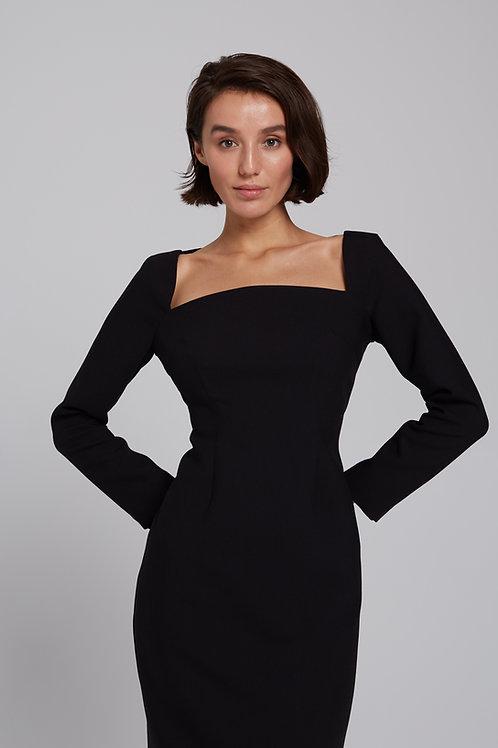 Платье-миди с квадратным вырезом