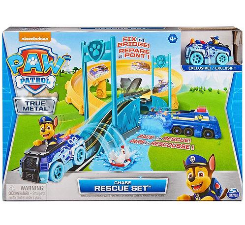 Paw Patrol True Metal Chase Rescue Track Set con vehículo exclusivo