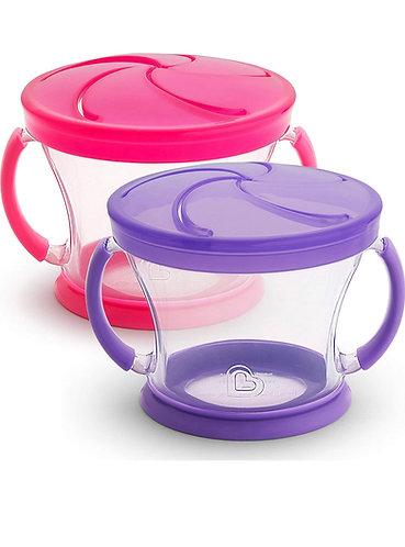 Envase para Snacks de Plástico (set de 2, color morado y rosa)