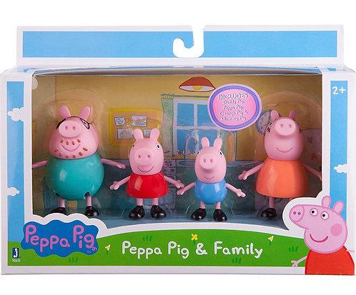 Peppa Pig - Juego de 4 figuras, Familia de Peppa