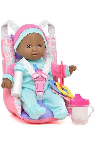 Asiento de Coche con accesorios de Juguete, incluye muñeca