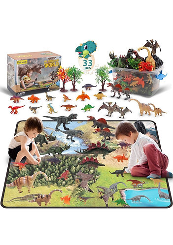 Juego de Dinosaurios DigiHealth de 33 pcs con Alfombra