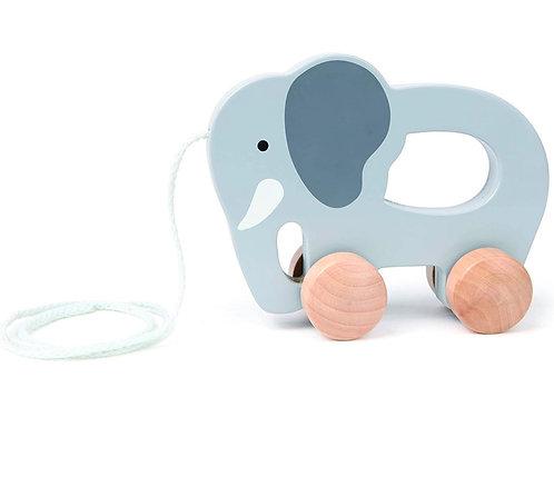 Hape Elefante de juguete de madera para empujar y tirar
