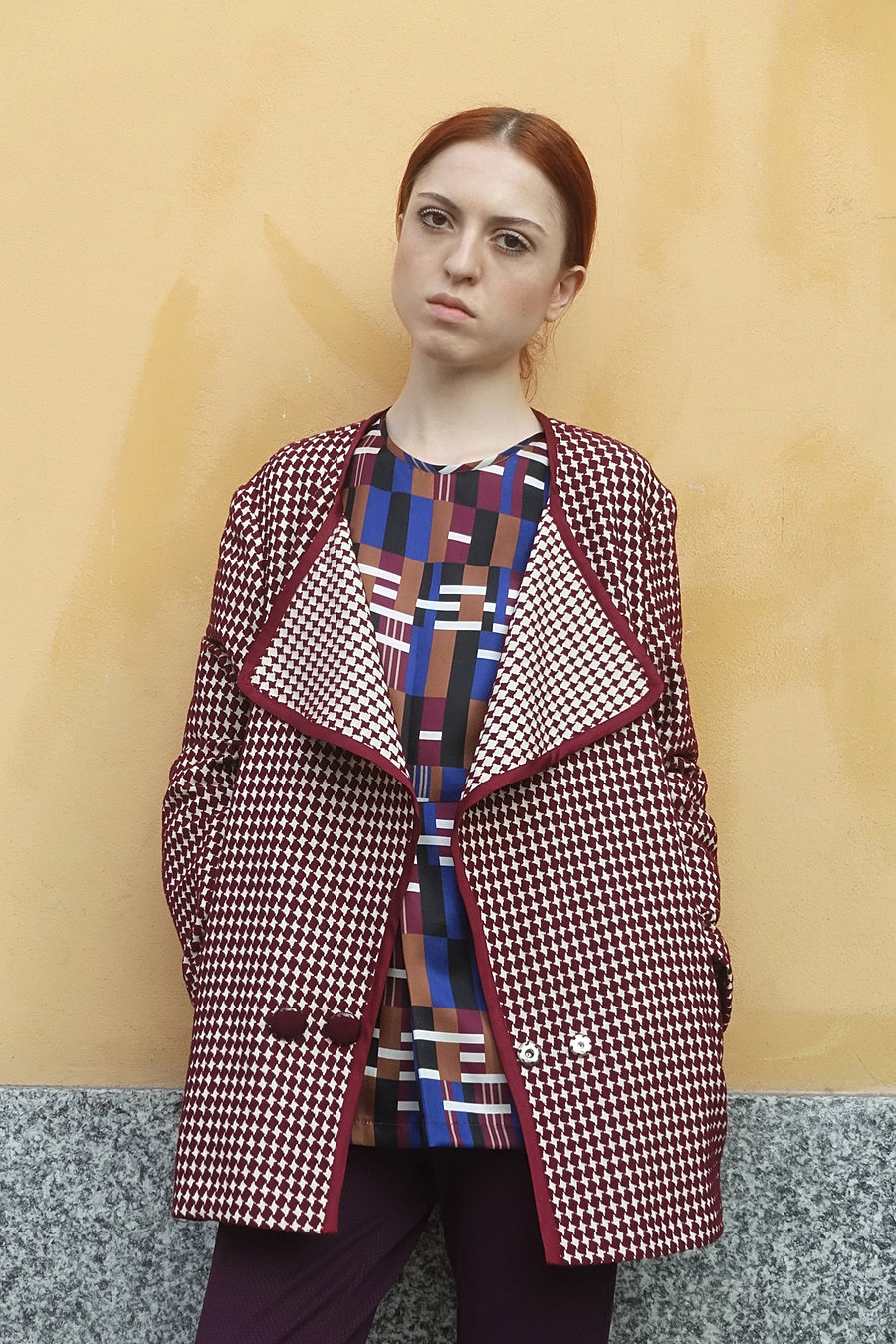 Wool jacquard checks coat and printed silk blouse