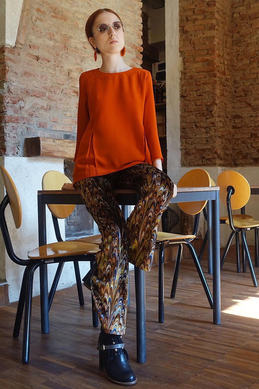 Viscose blouse and silk velvet printed trouserd