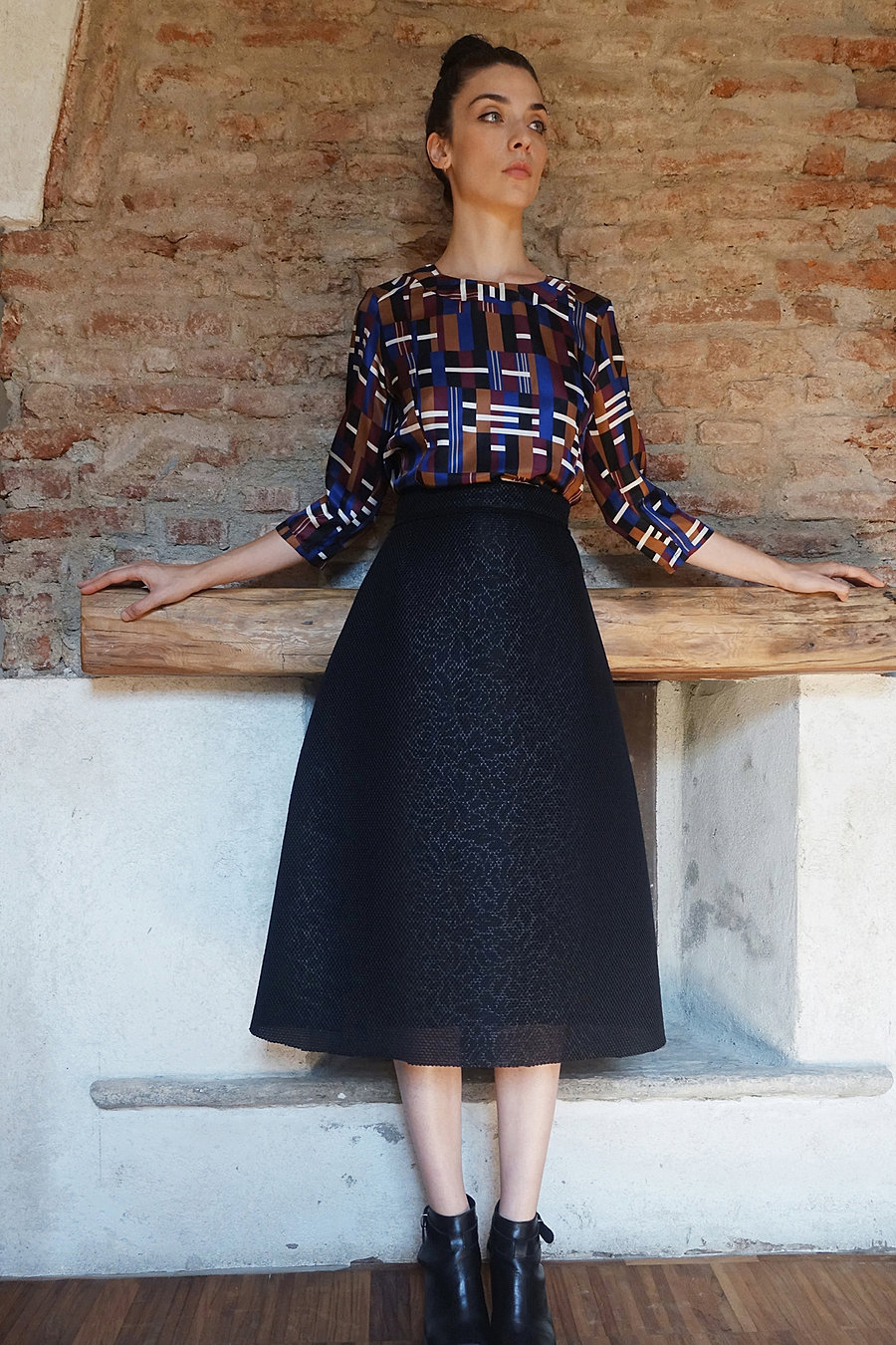 Silk printed blouse and neoprene skirt
