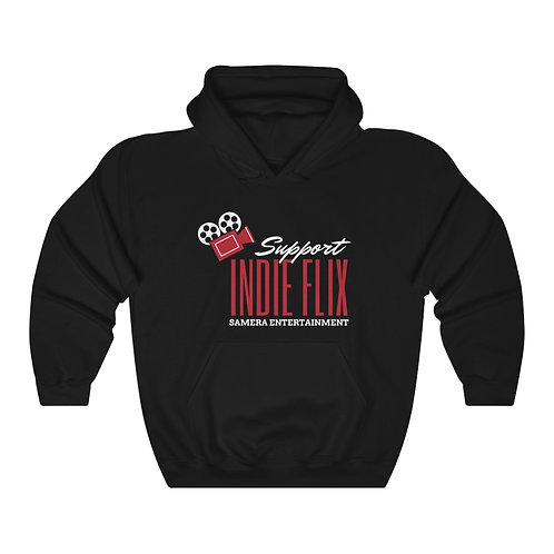 Support Indie Flix - Black, Red and White Unisex Heavy Blend™ Hooded Sweatshirt