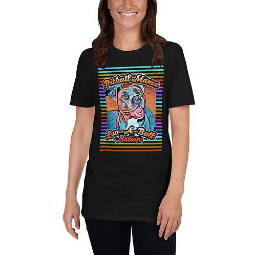 Pitbull Mama Color Stripes (Black, Blue, Gray) - T-Shirt