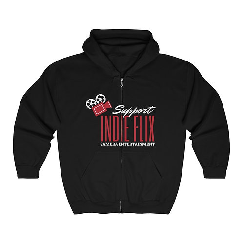 Unisex Black, Red and White Support Indie Flix Full Zip Hoodie