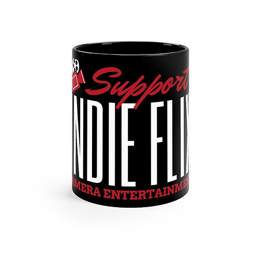 Support Indie Flix - Black, Red and White mug 11oz