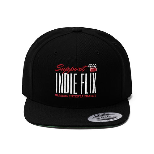 Support Indie Flix, Camera Behind Text Flat Bill Hat