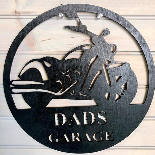 Dad's Garage with vehicle of choice. 15 inches.